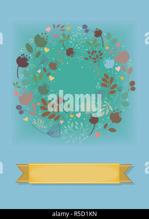 Graceful Greeting Card. Ring of flowers - Stock Photo