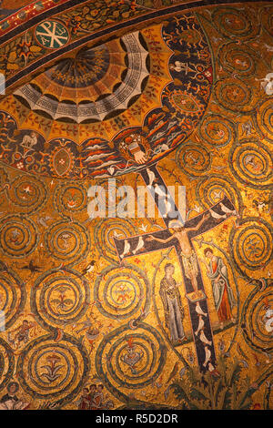 Italy, Rome, Basilica of San Clemente, 12th Century Apse Mosaic - Stock Photo