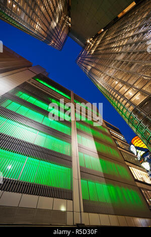 Japan, Tokyo, Ginza, Maison Hermes Store and Sony Building - Stock Photo