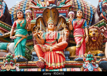 Singapore, Sri Mariamman Temple, Hindu Deities Adorning Roof of Main Prayer Hall - Stock Photo