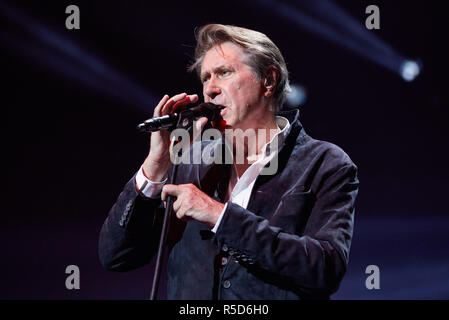 Hamburg, Germany. 30th Nov, 2018. Bryan Ferry, singer from Great Britain, is on stage at the tour kick-off of 'Night of the Proms' in the Barclaycard Arena. This year the Klassik-trifft-Pop format celebrates its 25th anniversary. Credit: Georg Wendt/dpa/Alamy Live News - Stock Photo