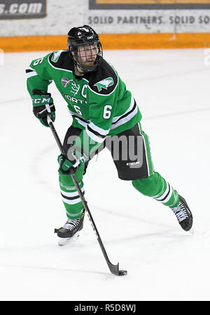 November 30, 2018 North Dakota Fighting Hawks captain Colton Poolman (6) skates with the puck during a NCAA men's ice hockey game between the University of North Dakota Fighting Hawks and the Minnesota Duluth Bulldogs at Amsoil Arena in Duluth, MN. Minnesota Duluth won 5-0. Photo by Russell Hons/CSM Credit: Cal Sport Media/Alamy Live News - Stock Photo