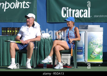 DELRAY BEACH, FL  - DECEMBER 04: Tennis legend Chris Evert teamed with her good friend former President George H.W. Bush to outlast recording star Michael W. Smith and world No. 1 Lindsay Davenport 6-4 in the highlight match at the Chris Evert/Bank of America Pro-Celebrity Tennis Classic on Sunday at the Delray Beach Tennis Center.Ê Bush was among the many celebrities and tennis stars that helped Evert raise a record-tying $1.2 million to fight drug abuse in South Florida. The event, which is held in association with the Chris Evert Children's Hospital at Broward General Medical Center, has ra - Stock Photo