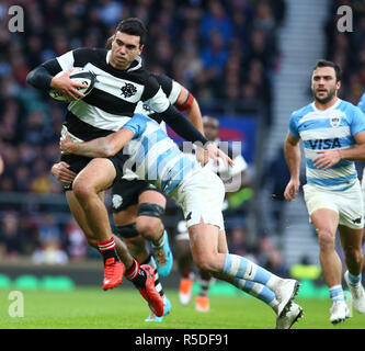 London, UK, 1st December, 2018.  Jack Debreczeni (Chiefs) of Barbarians During The Killik Cup between Barbarians and Argentina at Twickenham stadium , London, England on 01 Dec 2018.   Credit: Action Foto Sport/Alamy Live News - Stock Photo