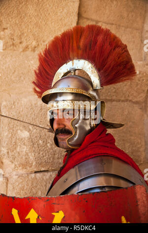 Jordan, Jerash, Roman Army and Chariot Experience, Roman Centurion (MR) - Stock Photo