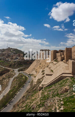 Jordan, Kings HIghway, Karak, Karak Crusader Castle, exterior - Stock Photo
