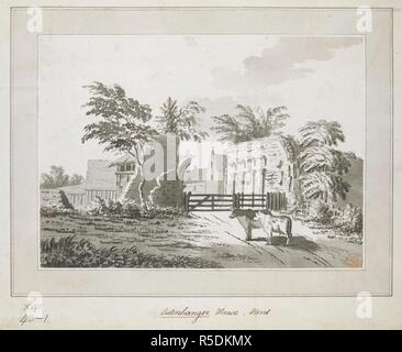 Cattle on a country path by a wooden gate in the foreground; Ostenhanger Manor in the distance. Ostenhanger House, Kent. c. 1770-1790. Pen and black ink with monochrome wash. Source: Maps K.Top.18.43.1. Language: English. - Stock Photo