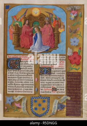 Coronation of the Virgin.  Sanctorale; feast of the Coronation of the Virgin; The Virgin kneeling, with Holy Spirit above; angels playing harp, fiddle,and lute.Text with decorated initials. Borders of trompe l'oeil decoration with flowers and insects. At foot, the arms of Francisco de Rojas, with scrolls containing inscription from John 1, 5, and a dedicatory inscription. Isabella Breviary. S. Netherlands [Bruges?]; circa 1490-1497. Source: Add. 18851, f.437. Language: Latin. Author: Master of James IV of Scotland. - Stock Photo