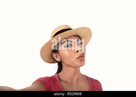 Pretty asian woman take selfie - Stock Photo