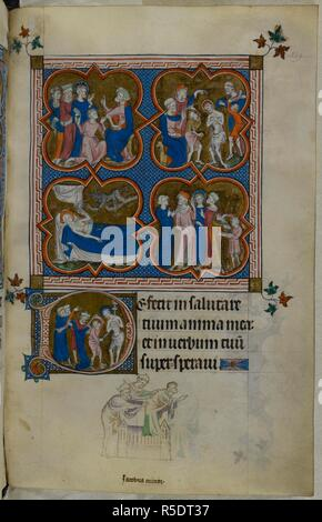 Four-part miniature with scenes from the Passion of Christ, with an historiated initial 'D'(eficit) of the scourging of Christ. A bas-de-page scene of James the Less being thrown down from the roof of the Temple. Psalter ('The Queen Mary Psalter'). England (London/Westminster or East Anglia?); between 1310 and 1320. Source: Royal 2 B. VII, f.249. Language: Latin, with French image captions. - Stock Photo