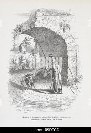 """Monsieur le Sorcier, si je suis une bete de genie, vous pouvez me l'apprendre; cela ne me fera pas de peine. Anthropomorphic image of insects measuring the height of a bridge. Peines de cÅ""""ur d'une chatte anglaise.-Guide-aÌ'ne aÌ€ l'usage des animaux qui veulent parvenir aux honneurs.-Voyage d'un lion d'Afrique aÌ€ Paris.-Les Amours de deux beÌ'tes. In: Stahl (P. J.) pseud. SceÌ€nes de la vie priveÌe des animaux ... EÌtudes de mÅ""""urs contemporaines publieÌes sous la direction de M. P. J. Stahl, avec la collaboration de Messieurs de Balzac, L. Baude, etc. 1842. 1842. Source: 1457.k.1. plate"""