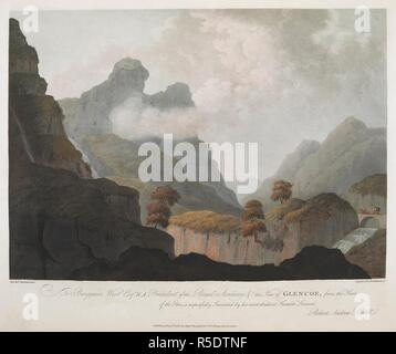 A horse and carriage on a bridge over a river and waterfall on the right-hand side; mountains in the distance; rocks throughout the scene. To Benjamin West Esqr R.A. President of the Royal Academy &c this View of GLENCOE, from the Head of the Glen; is respectfully Inscribed by his most obedient Humble Servant Rovers Andrew Riddell. [London] : Published July 1st 1812 by Messrs Boydell&Co 90 Cheapside, London., [July 1 1812]. Aquatint and etching with hand-colouring. Source: Maps K.Top.49.4.c. Language: English. Author: Riddell, R. A.Robertson, A. - Stock Photo
