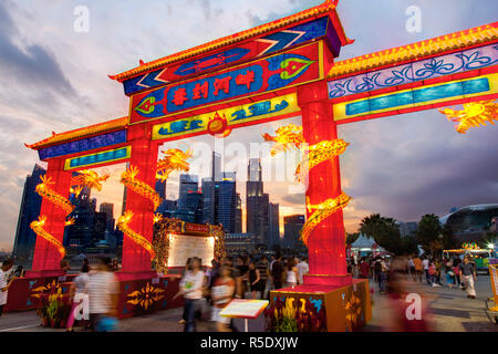 City Financial Skyline, River Hongbao decorations for Chinese New Year celebrations at Marina Bay, Singapore - Stock Photo