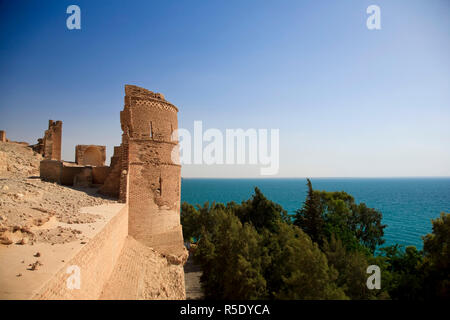 Syria, Euphrates river , Ath Thaura, Lake Al-Assad and Qalaat Jaabar Castle - Stock Photo