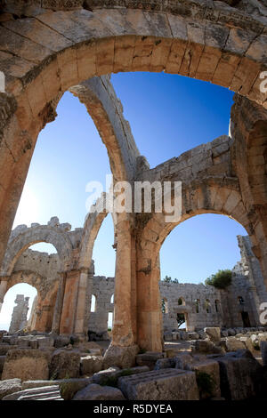 Syria, Aleppo, the Dead Cities, Ruins of the Basilica of Saint Simeon (Qala'at Samaan) - Stock Photo