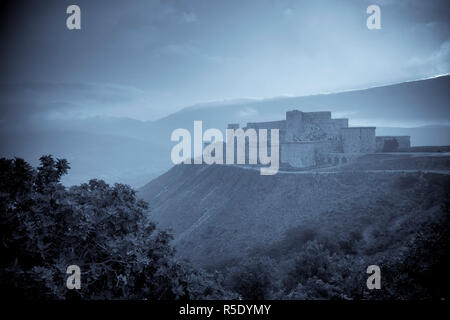 Syria, crusader's castle of Krak Des Chevaliers (Qala'at al Hosn), a UNESCO Site - Stock Photo