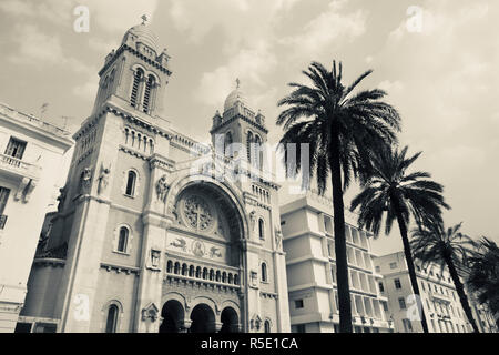 Tunisia, Tunis, Avenue Habib Bourguiba, Cathedral of St. Vincent de Paul - Stock Photo