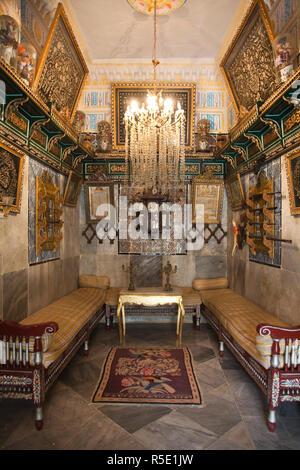 Tunisia, Tunisian Central Coast, Sousse, Museum Dar Essid interior, 19th century interior of house built in 928 AD - Stock Photo