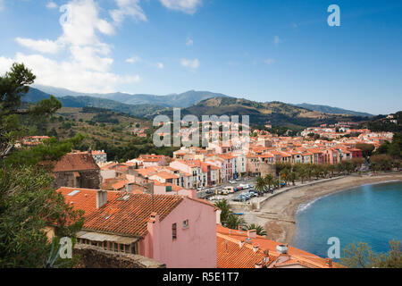 France, Languedoc-Roussillon, Pyrennes-Orientales Department, Vermillion Coast Area, Collioure - Stock Photo