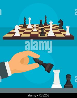 Chess banner set. Flat illustration of chess vector banner set for web design - Stock Photo