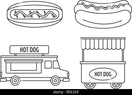 Hot dog shop cart icon set. Outline set of hot dog shop cart vector icons for web design isolated on white background - Stock Photo