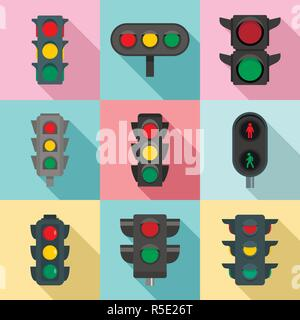 Traffic lights icon set. Flat set of traffic lights vector icons for web design - Stock Photo