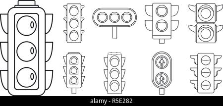 Road traffic lights icon set. Outline set of road traffic lights vector icons for web design isolated on white background - Stock Photo