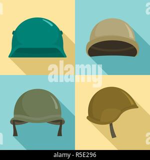 Army helmet icon set. Flat set of army helmet vector icons for web design - Stock Photo