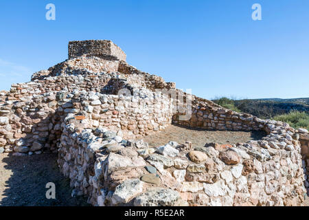 Arizona's Tuzigoot National Monument is the site of one of the largest and best-preserved pueblo dwellings built by the Sinagua people between 1125 an - Stock Photo