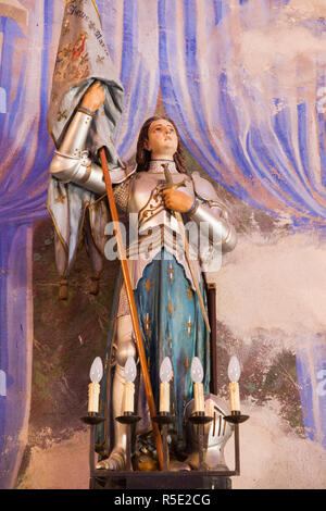 France, Corsica, Corse-du-Sud Department, Corsica West Coast Region, Cargese, Eglise Latine Ste-Marie, Latin church, statue of Joan of Arc - Stock Photo