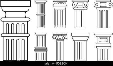 Ancient column icon set. Outline set of ancient column vector icons for web design isolated on white background - Stock Photo