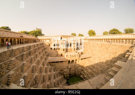 Fisheye shot of abhaneri stepwell in rajasthan  - Stock Photo