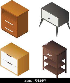 Nightstand icon set. Isometric set of nightstand vector icons for web design isolated on white background - Stock Photo