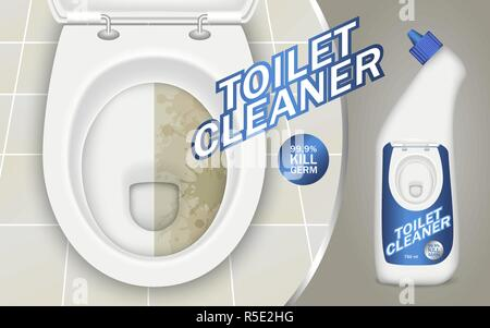 Toilet detergent concept background. Realistic illustration of toilet detergent vector concept background for web design - Stock Photo
