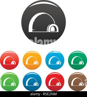Arctic igloo icons set 9 color vector isolated on white for any design - Stock Photo