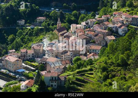 France, Corsica, Haute-Corse Department, Central Mountains Region, Vivario, elevated town view - Stock Photo