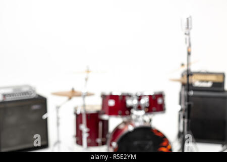 blur background of drum set on white background . - Stock Photo