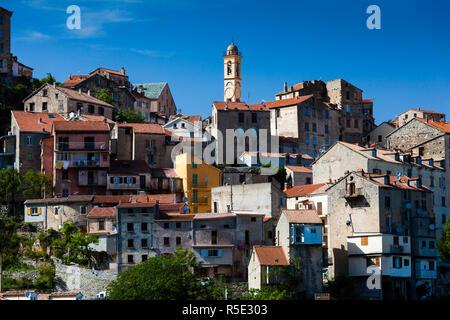 France, Corsica, Haute-Corse Department, Central Mountains Region, Corte, city view - Stock Photo