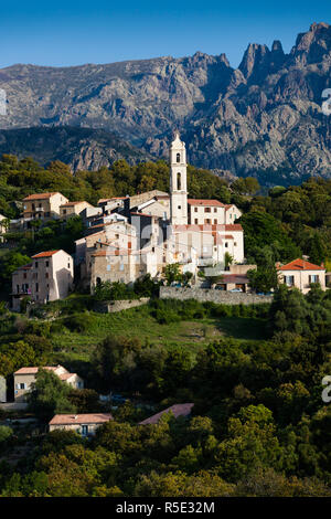France, Corsica, Haute-Corse Department, Central Mountains Region, Soveria, elevated town view