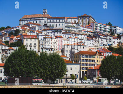 View of Coimbra, city in Portugal, with University of Coimbra, summer sunny day - Stock Photo