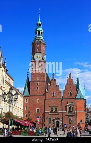 City hall, Rynek (Market Square), Wroclaw, Lower Silesia, Poland - Stock Photo