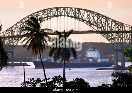 Panama, Panama Canal, Bridge Of The Americas, Pacific Entrance, Cargo Ship - Stock Photo