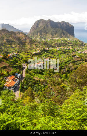 Porto da Cruz and Penha de Aguia, seen from Portela, Madeira, Portugal - Stock Photo