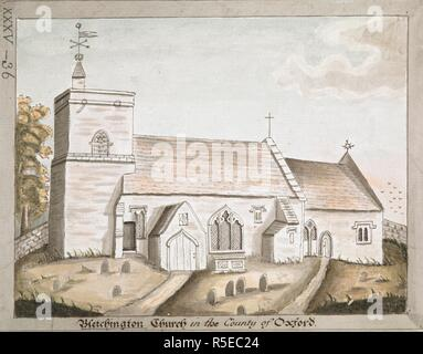St. Giles' parish church and churchyard; gravestones in the foreground; trees to the left. Bletchington Church in the County of Oxford. c. 1780-1800. Pen and black ink with watercolour. Source: Maps K.Top.35.36. Language: English. - Stock Photo