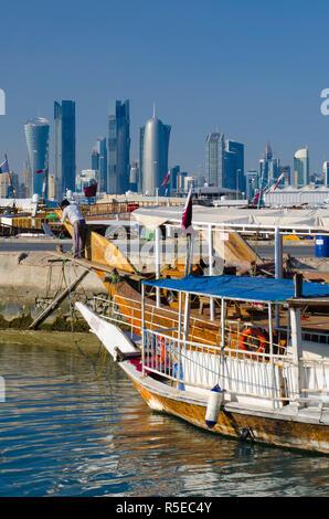 Qatar, Doha, Modern Skyline from Dhow Harbour - Stock Photo