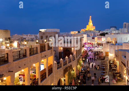 Qatar, Middle East, Arabian Peninsula, Doha, the restored Souq Waqif - Stock Photo