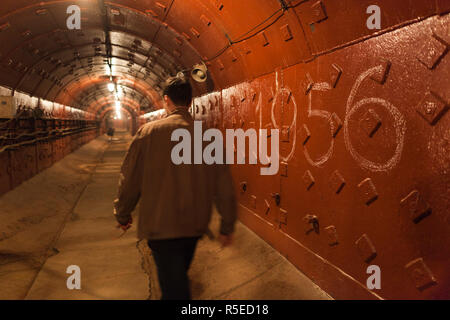 Russia, Moscow, Taganka-area, ZKP Tagansky Cold War Museum, underground communication bunker, tunnels - Stock Photo