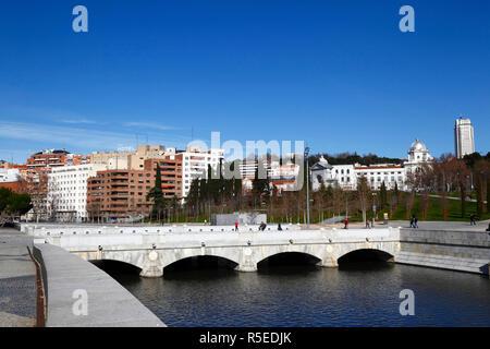 Puente del Rey bridge over Manzanares River in Virgen del Puerto Gardens, Madrid, Spain - Stock Photo
