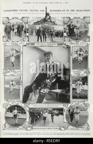 'Vanquished victor, victor and runner-up in the marathon. On this page appear the portraits of the first ten runners who reached the stadium. Dorando Pietri, the Queen's own prize-winner in the Marathon race, with the cup he received from her Majesty.'. Illustrated London News supplement. August 1st, 1908. Source: Illustrated London News supplement,. Language: English. - Stock Photo