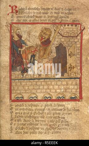 Agolafre stops Richard. . ROMANCES in French verse ... 14th century. Source: Egerton 3028 f.112. Author: Wace, Canon of Bayeux. - Stock Photo